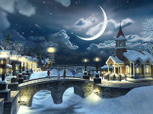 Snow Village 3D Screensaver Screenshot