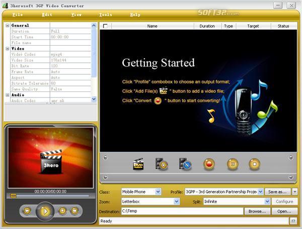 3herosoft 3GP Video Converter Screenshot 3