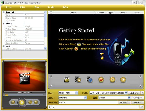 3herosoft 3GP Video Converter Screenshot