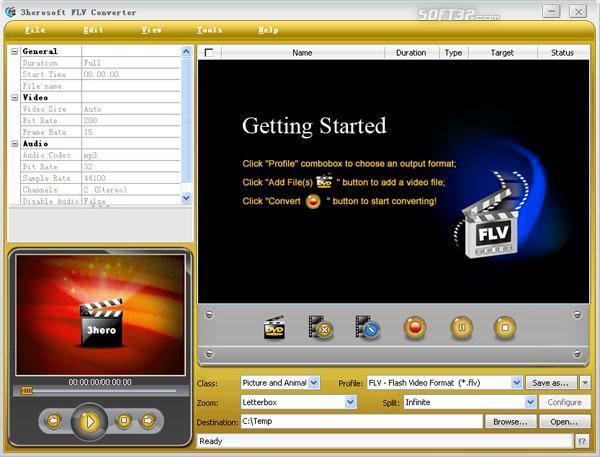 3herosoft FLV Converter Screenshot 3