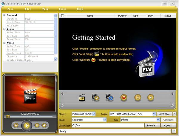 3herosoft FLV Converter Screenshot