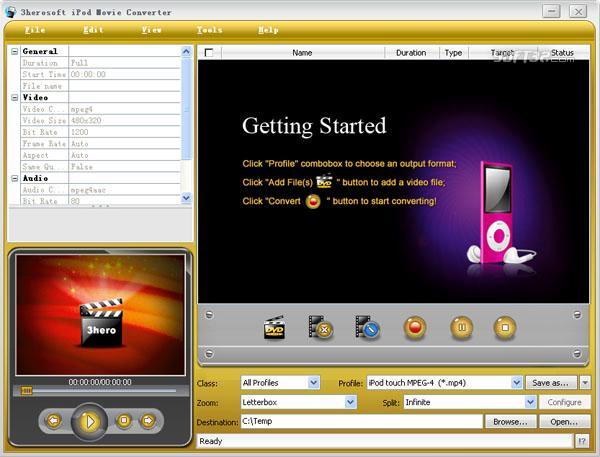 3herosoft iPod Movie Converter Screenshot 3