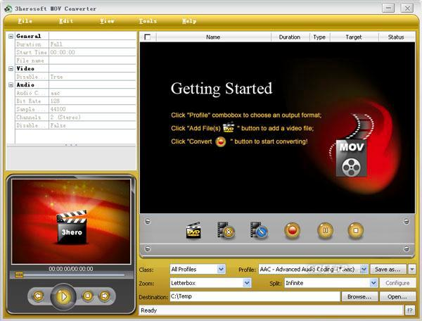 3herosoft MOV Converter Screenshot 3