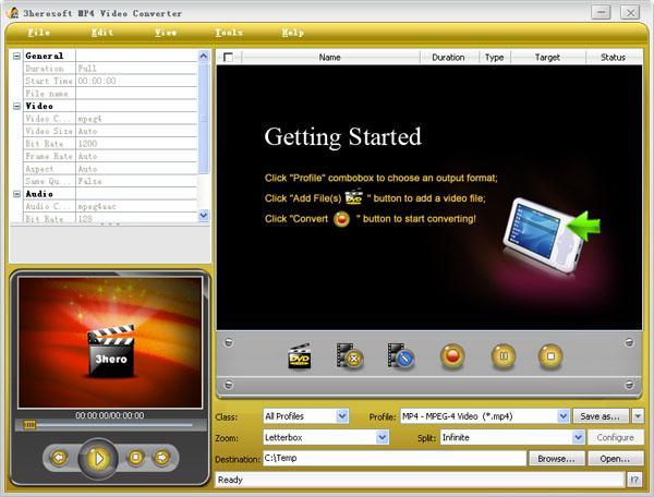 3herosoft MP4 Video Converter Screenshot 1