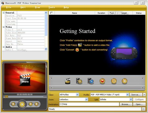 3herosoft PSP Video Converter Screenshot 3