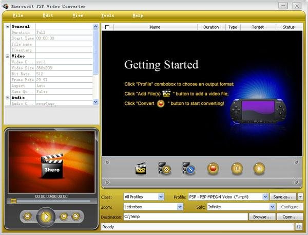 3herosoft PSP Video Converter Screenshot 1