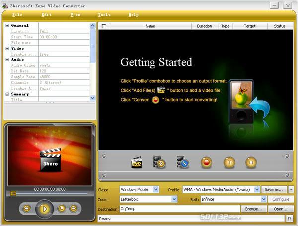 3herosoft Zune Video Converter Screenshot 3