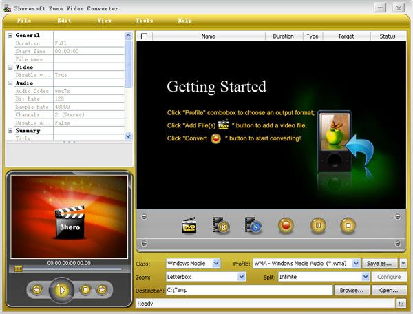 3herosoft Zune Video Converter Screenshot 1
