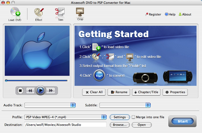 Aiseesoft DVD to PSP Converter for Mac Screenshot