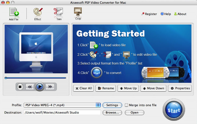 Aiseesoft PSP Video Converter for Mac Screenshot 2