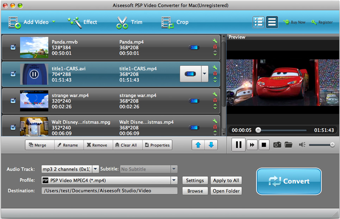 Aiseesoft PSP Video Converter for Mac Screenshot 1