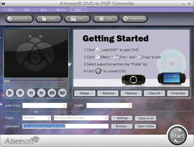 Aiseesoft DVD to PSP Converter Screenshot