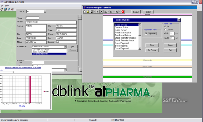 dbLink atPharma, Pharmacy Accounting Screenshot