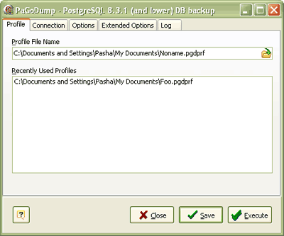 PaGoDump for PostgreSQL Screenshot 1