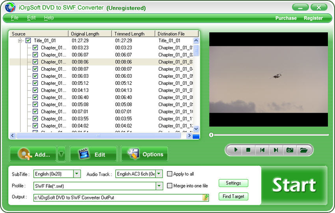 iOrgSoft DVD to SWF Converter Screenshot