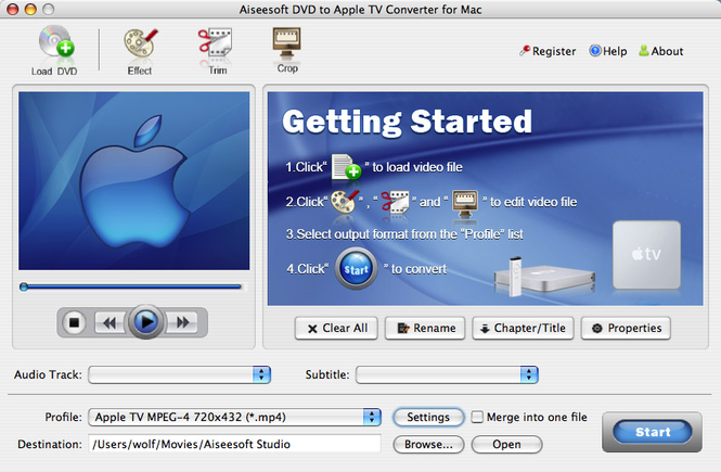 Aiseesoft DVD to Apple TV for mac Screenshot 1
