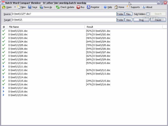 Batch Word Shrink Compactor Screenshot 2