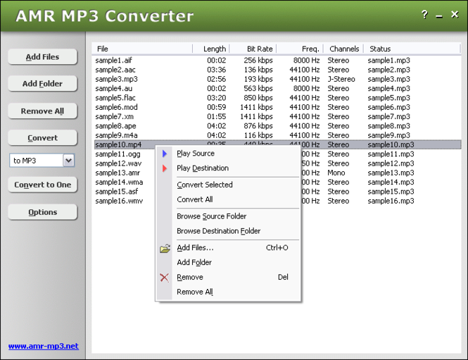 AMR MP3 Converter Screenshot