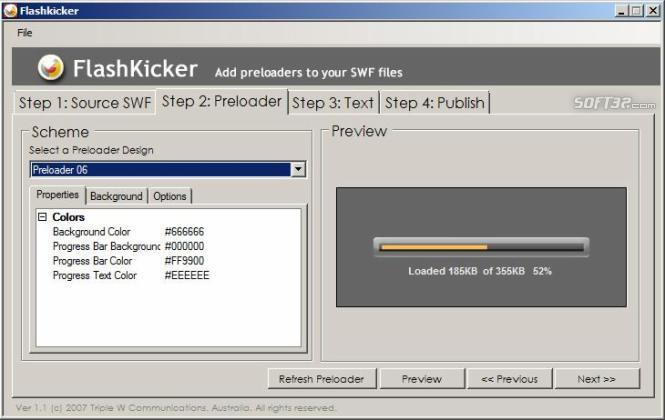 FlashKicker Flash Preloader Software Screenshot 2