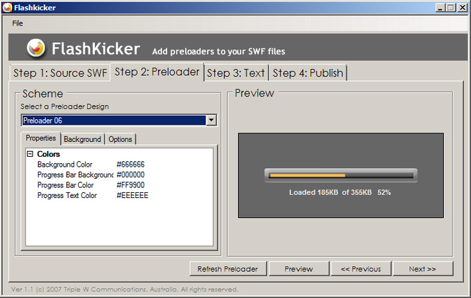 FlashKicker Flash Preloader Software Screenshot