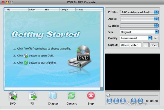 Shine DVD to MP3 Converter for Mac Screenshot 2