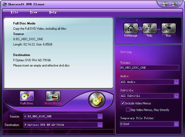 3herosoft DVD Cloner Screenshot 2