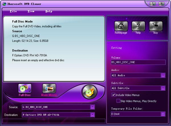 3herosoft DVD Cloner Screenshot