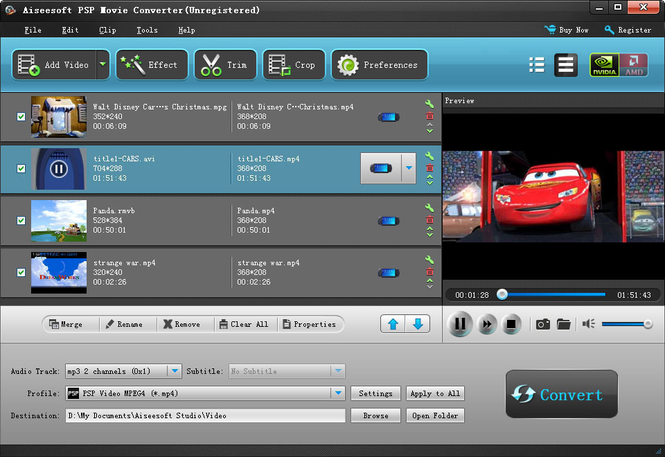 Aiseesoft PSP Movie Converter Screenshot 1