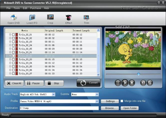 Nidesoft DVD to Sansa Converter Screenshot 2