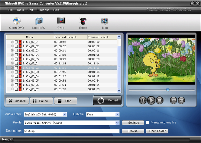 Nidesoft DVD to Sansa Converter Screenshot