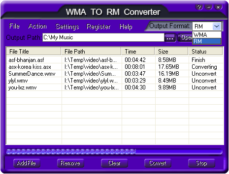 Free WMA TO RM Converter Screenshot