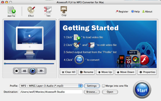 Aiseesoft FLV to MP3 for mac Screenshot