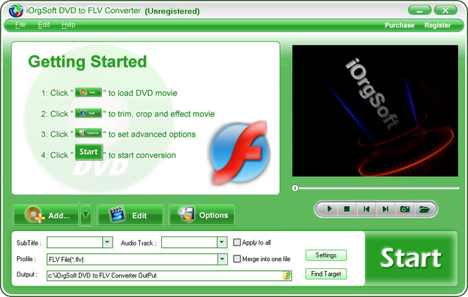 iOrgSoft DVD to FLV Converter Screenshot 1