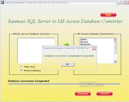 MS SQL to MS Access Database Conversion Utility Screenshot 3