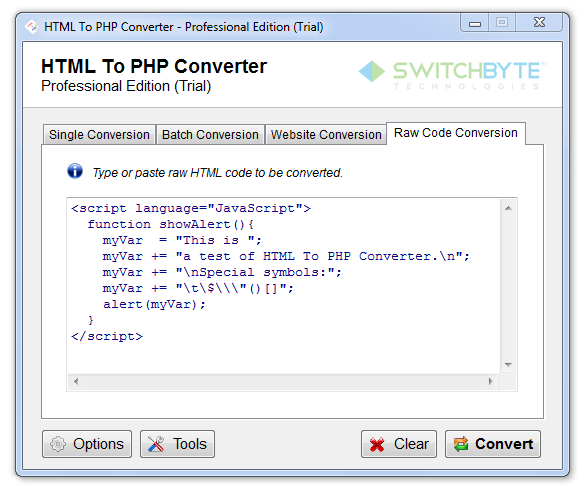 HTML To PHP Converter Screenshot