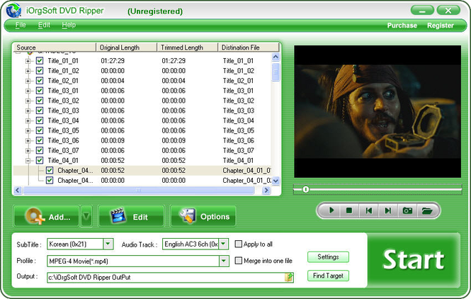 iOrgSoft DVD Ripper Screenshot