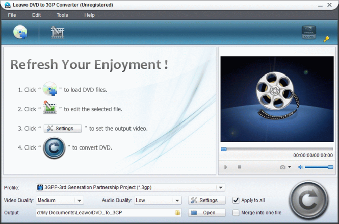 Leawo DVD to 3GP Converter Screenshot
