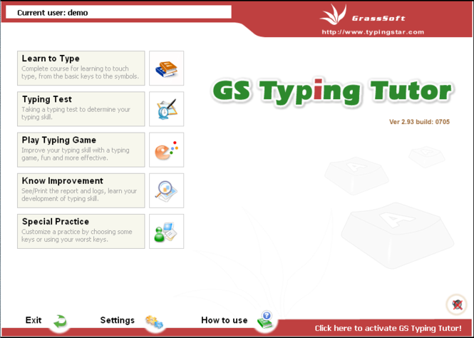 GS Typing Tutor Network Screenshot 1