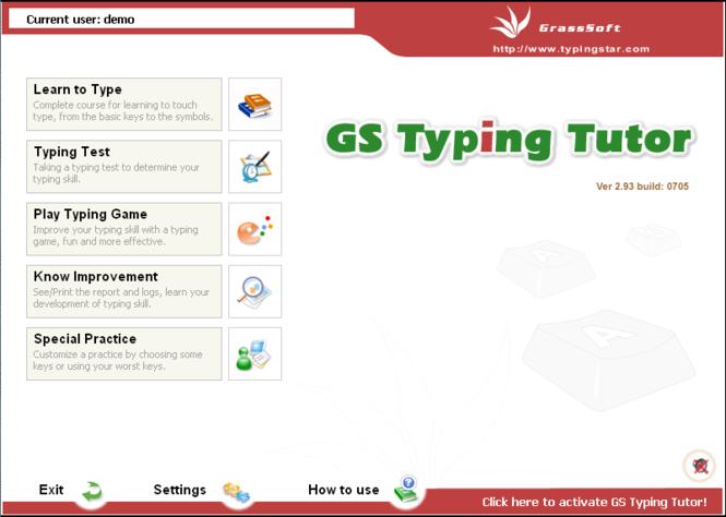 GS Typing Tutor Network Screenshot