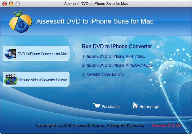 Aiseesoft DVD to iPhone Suite for Mac Screenshot