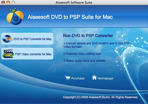 Aiseesoft DVD to PSP Suite for Mac Screenshot