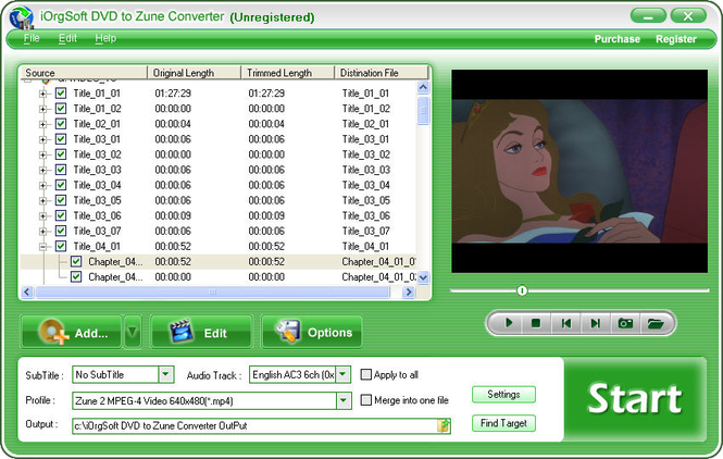 iOrgSoft DVD to Zune Converter Screenshot