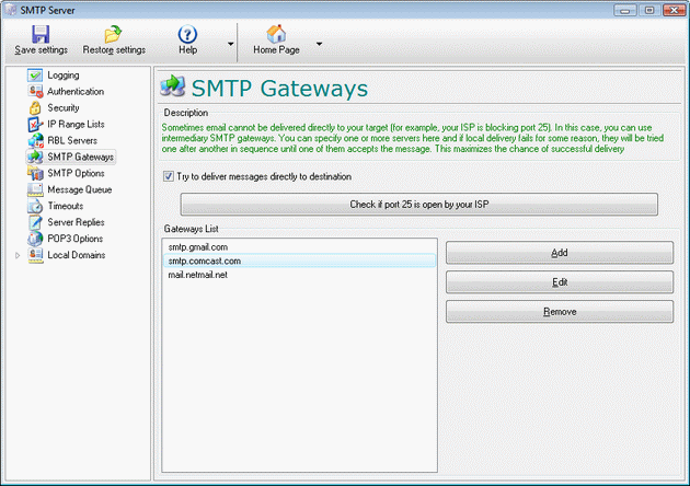 SMTP Relay Server Screenshot