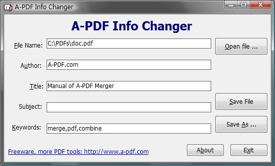 A-PDF INFO Changer Screenshot 1