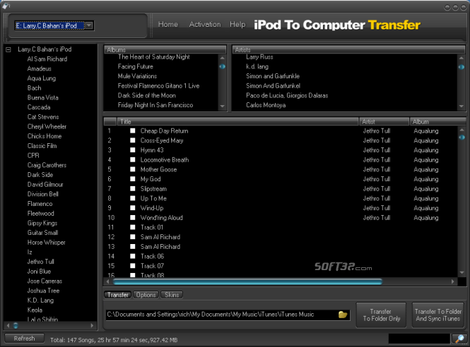 iPodAid iPod To Computer Transfer Screenshot 3