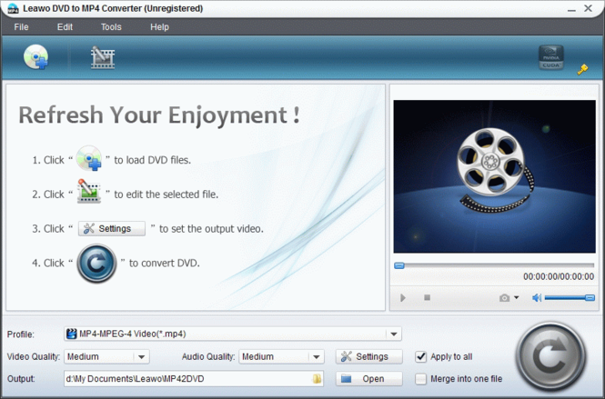 Leawo DVD to MP4 Converter Screenshot