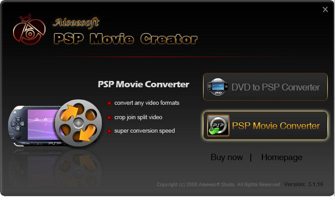 Aiseesoft PSP Movie Creator Screenshot 1