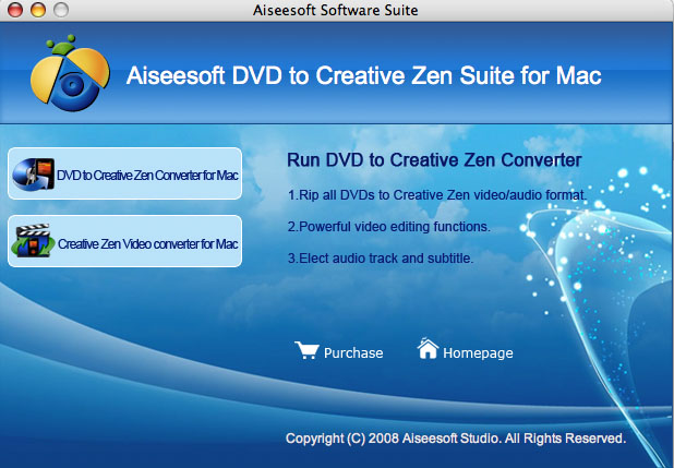 Aiseesoft Mac DVD to Creative Zen Suite Screenshot