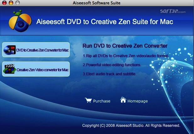 Aiseesoft Mac DVD to Creative Zen Suite Screenshot 2