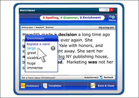WhiteSmoke English Writing Screenshot 1